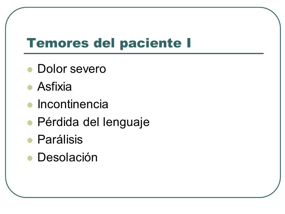 Temores del paciente I Dolor severo Asfixia Incontinencia