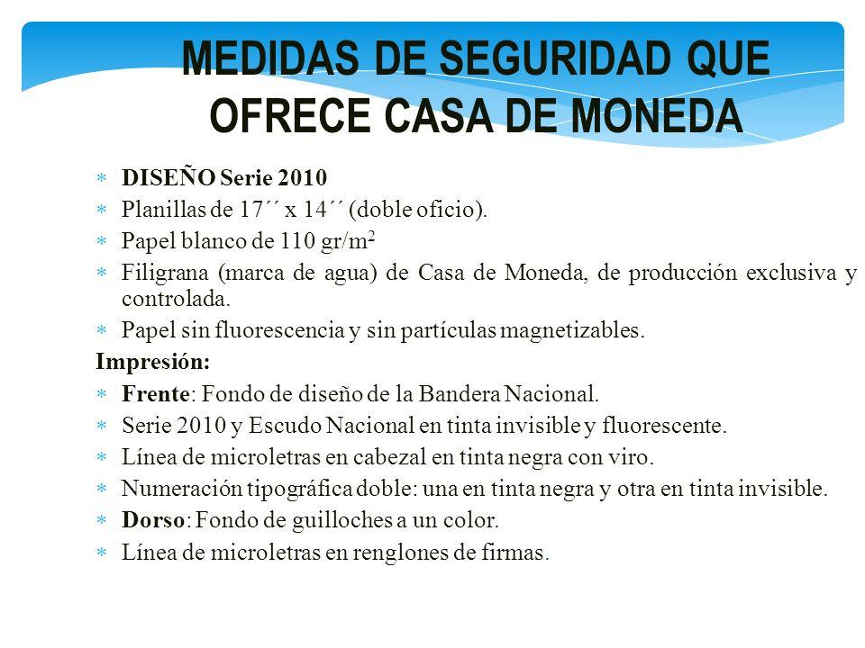 MEDIDAS DE SEGURIDAD QUE OFRECE CASA DE MONEDA