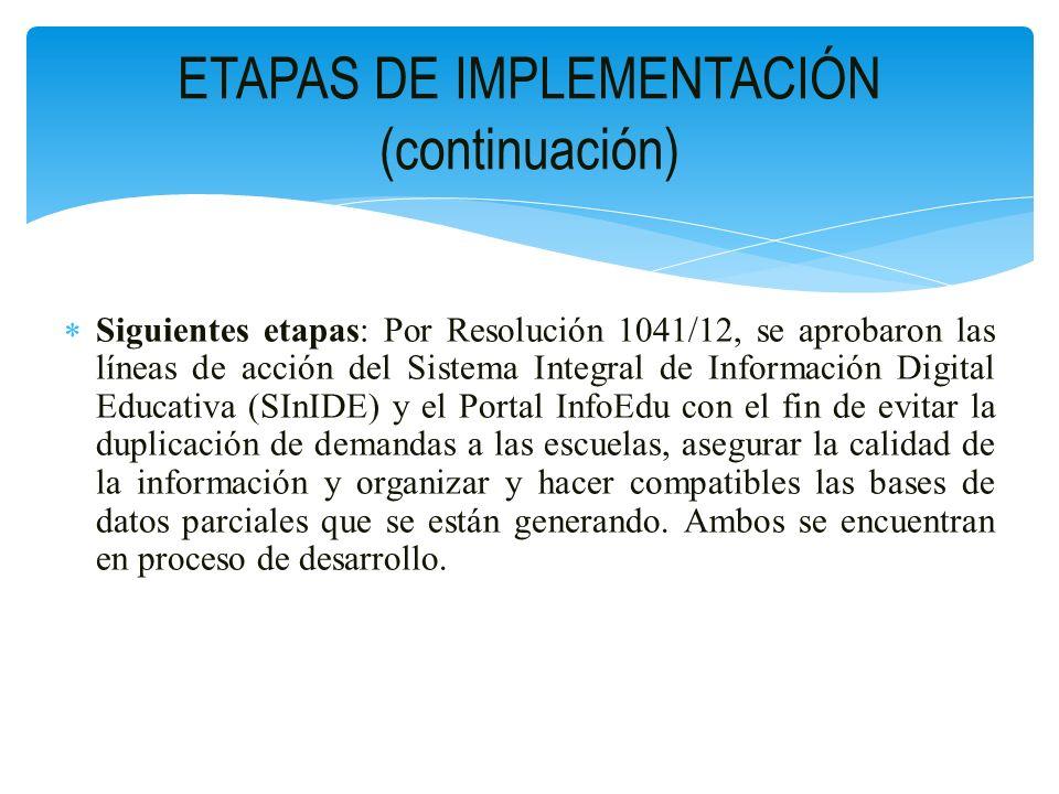 ETAPAS DE IMPLEMENTACIÓN (continuación)