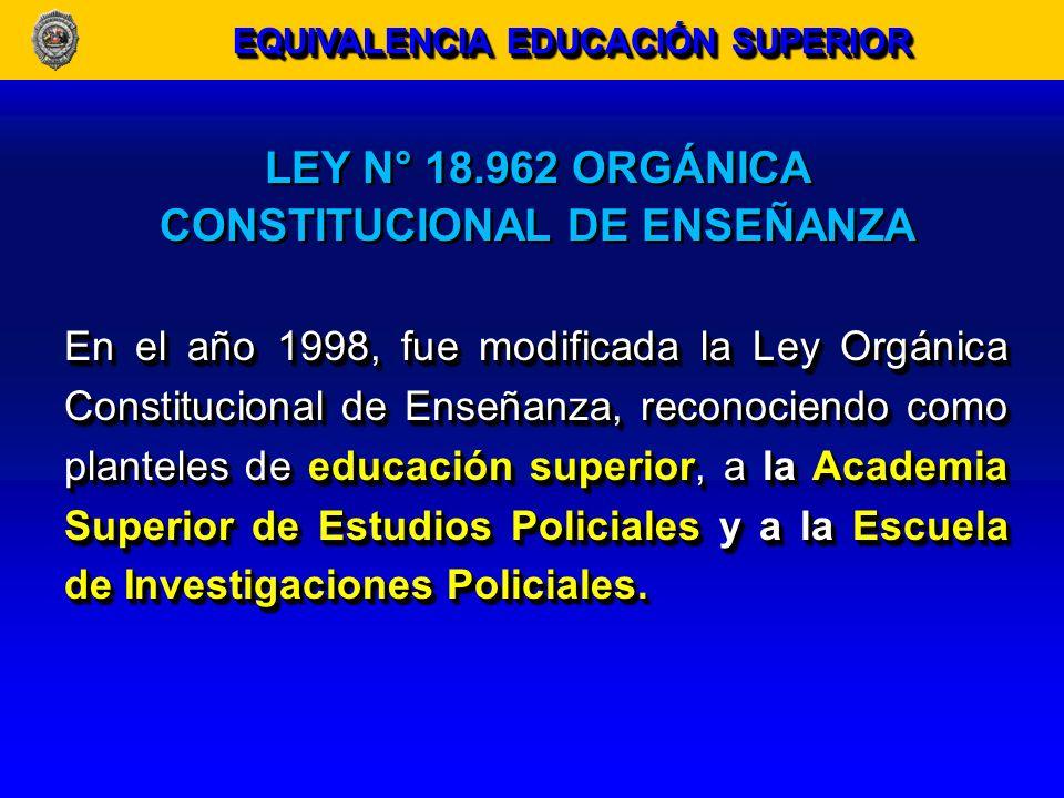 LEY N° 18.962 ORGÁNICA CONSTITUCIONAL DE ENSEÑANZA