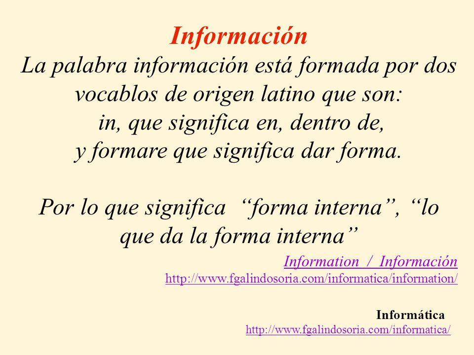 Información La palabra información está formada por dos vocablos de origen latino que son: in, que significa en, dentro de,