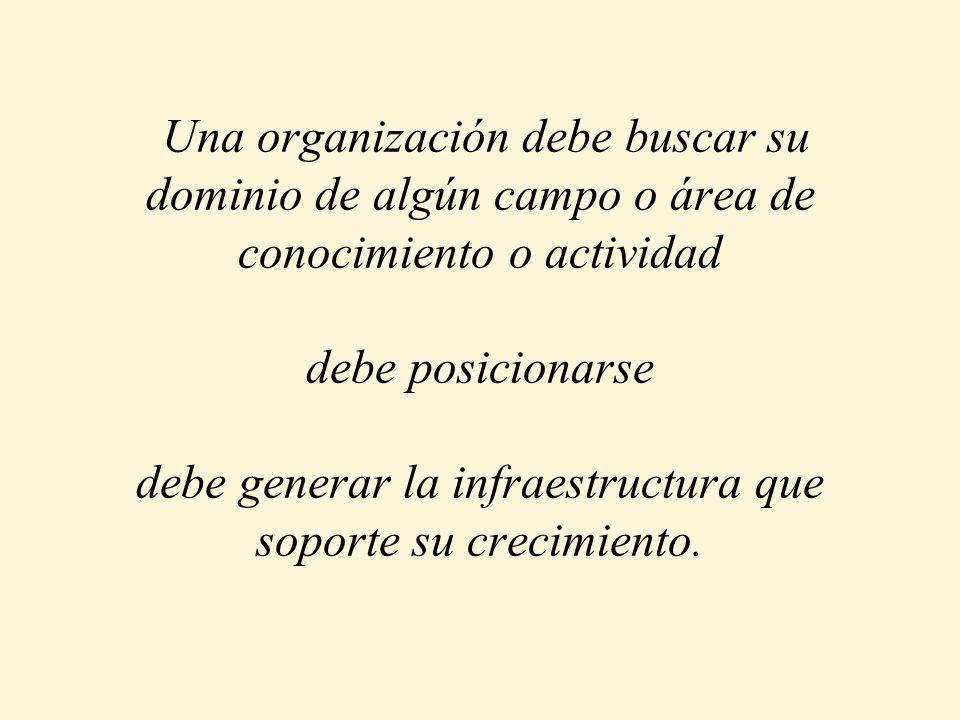Una organización debe buscar su dominio de algún campo o área de conocimiento o actividad debe posicionarse debe generar la infraestructura que soporte su crecimiento.