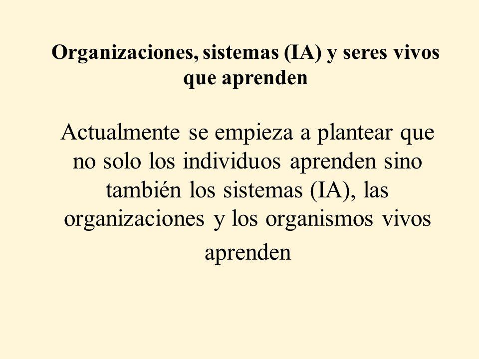 Organizaciones, sistemas (IA) y seres vivos