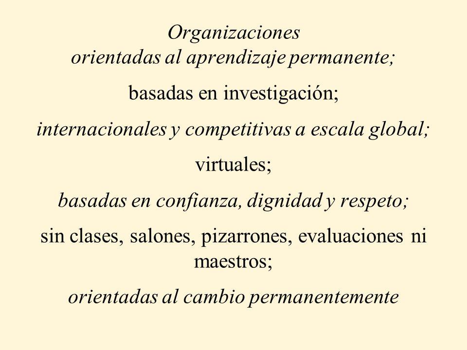Organizaciones orientadas al aprendizaje permanente; basadas en investigación; internacionales y competitivas a escala global; virtuales; basadas en confianza, dignidad y respeto; sin clases, salones, pizarrones, evaluaciones ni maestros; orientadas al cambio permanentemente