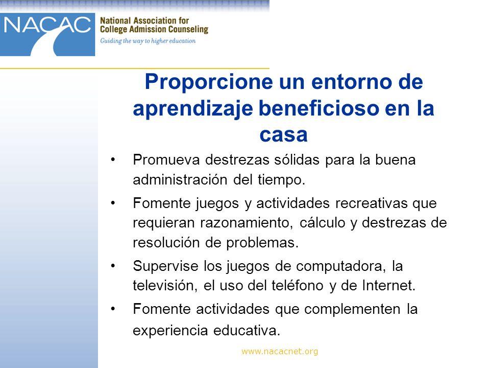 Proporcione un entorno de aprendizaje beneficioso en la casa
