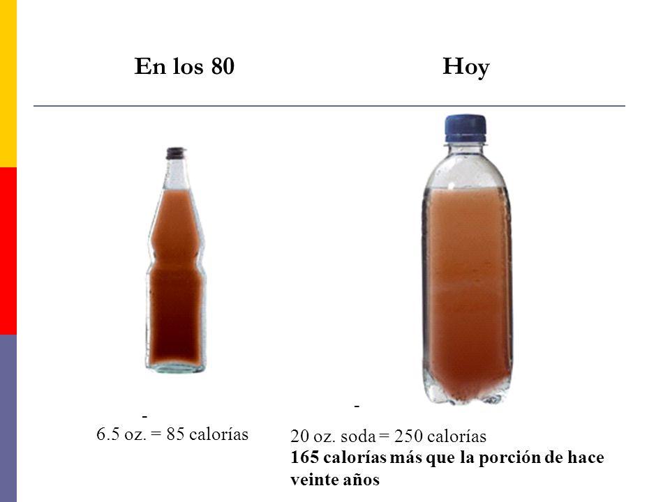 En los 80 Hoy - - 6.5 oz. = 85 calorías 20 oz. soda = 250 calorías