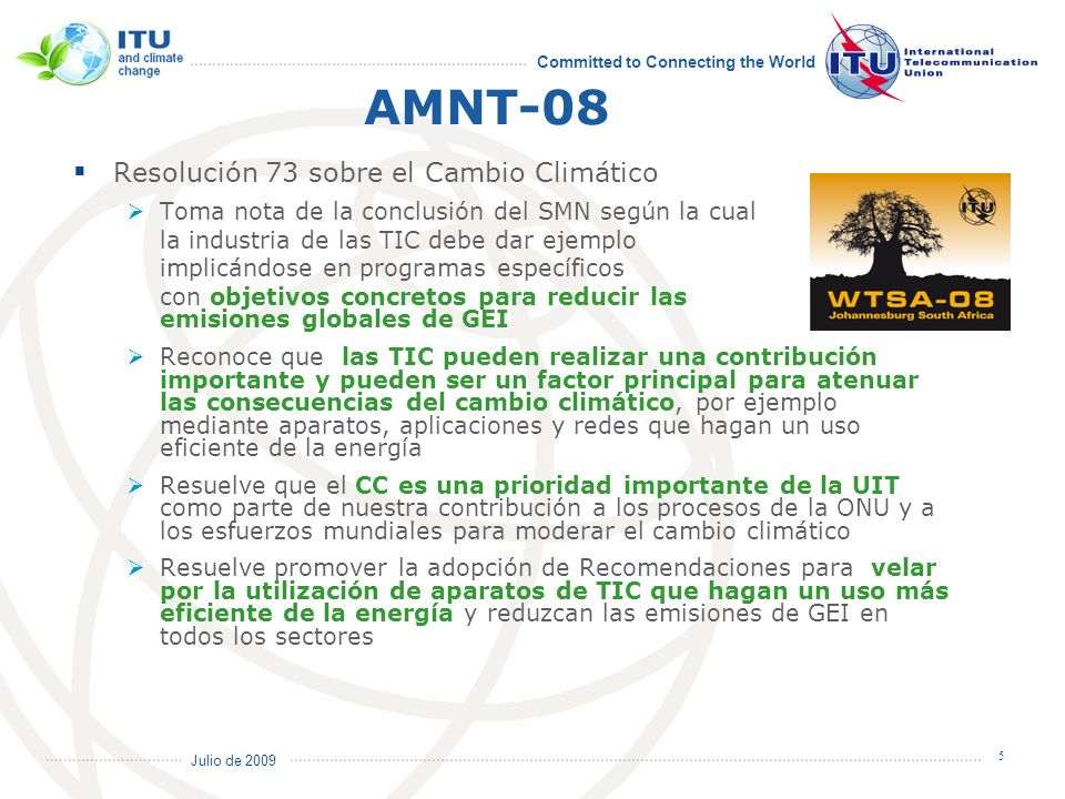 AMNT-08 Resolución 73 sobre el Cambio Climático