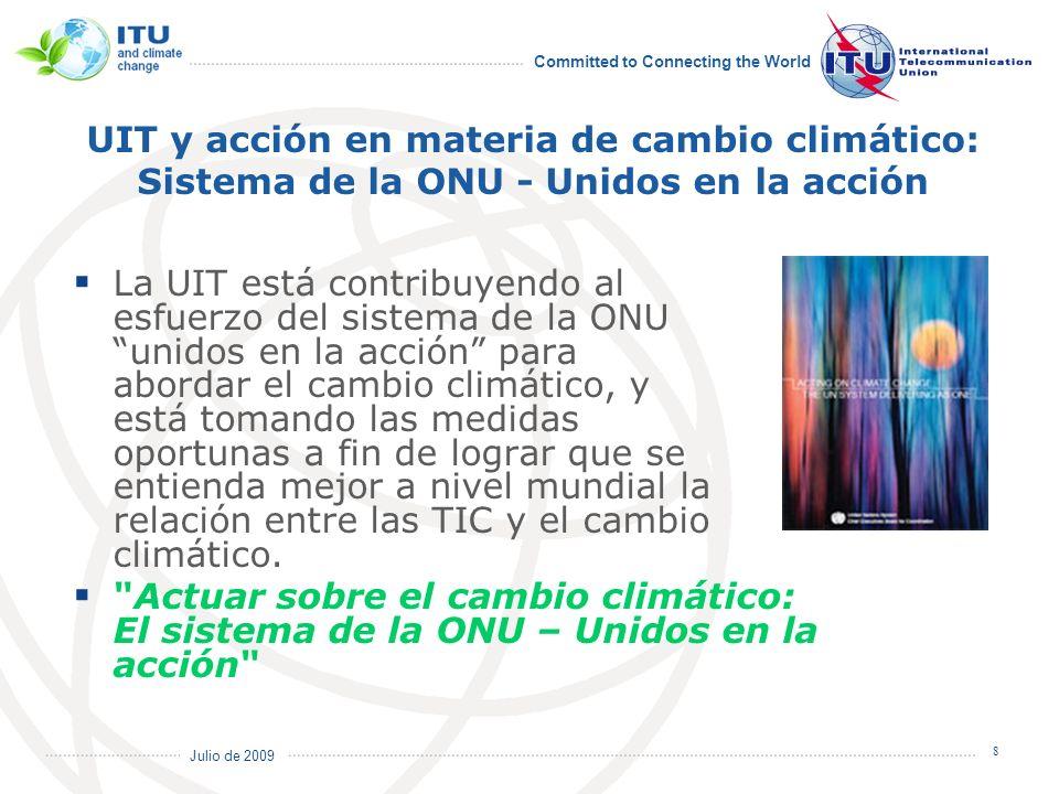 UIT y acción en materia de cambio climático: Sistema de la ONU - Unidos en la acción