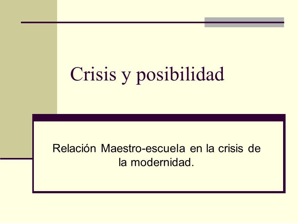 Relación Maestro-escuela en la crisis de la modernidad.