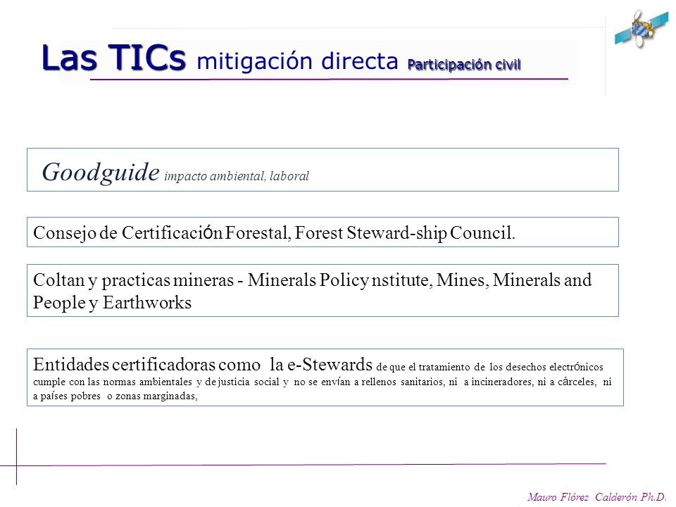 Las TICs mitigación directa Participación civil