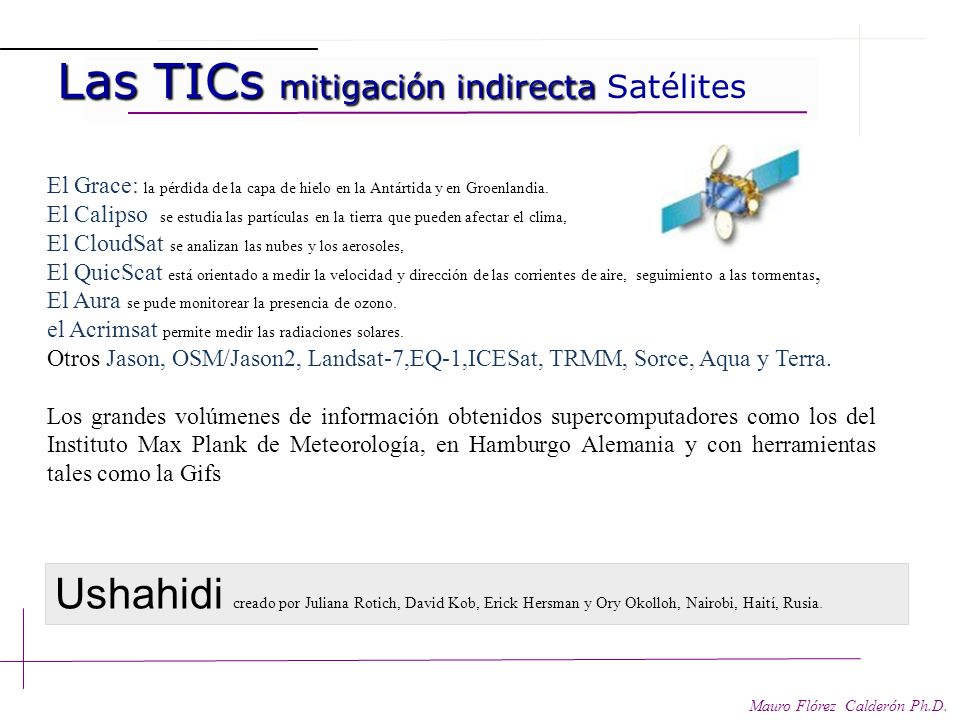 Las TICs mitigación indirecta Satélites