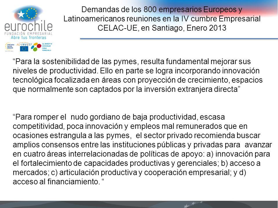 Demandas de los 800 empresarios Europeos y Latinoamericanos reuniones en la IV cumbre Empresarial CELAC-UE, en Santiago, Enero 2013