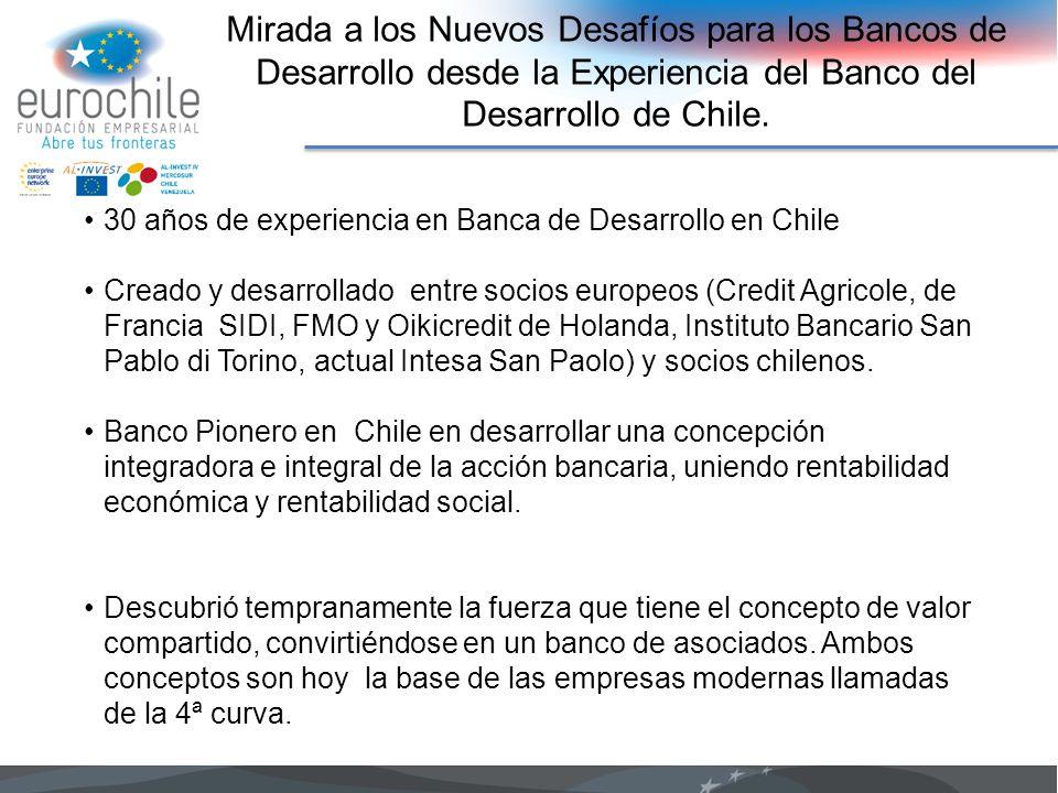 Mirada a los Nuevos Desafíos para los Bancos de Desarrollo desde la Experiencia del Banco del Desarrollo de Chile.