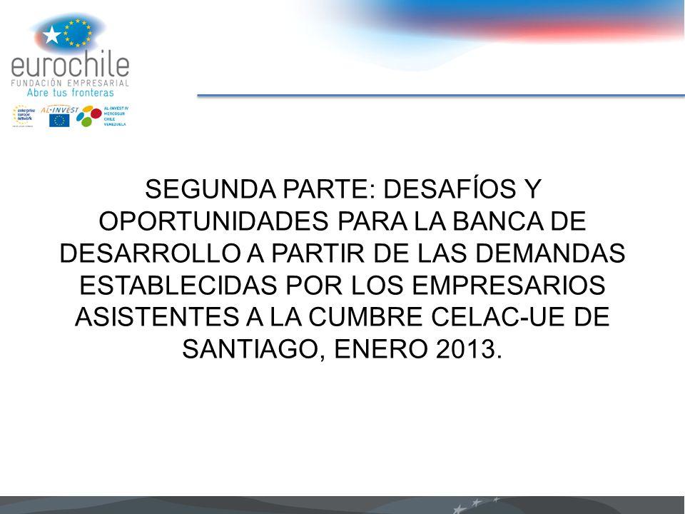 SEGUNDA PARTE: DESAFÍOS Y OPORTUNIDADES PARA LA BANCA DE DESARROLLO A PARTIR DE LAS DEMANDAS ESTABLECIDAS POR LOS EMPRESARIOS ASISTENTES A LA CUMBRE CELAC-UE DE SANTIAGO, ENERO 2013.