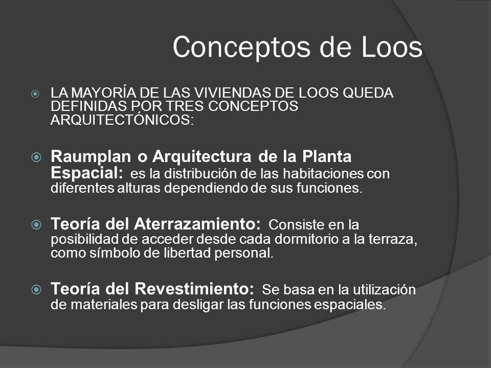 Conceptos de Loos LA MAYORÍA DE LAS VIVIENDAS DE LOOS QUEDA DEFINIDAS POR TRES CONCEPTOS ARQUITECTÓNICOS: