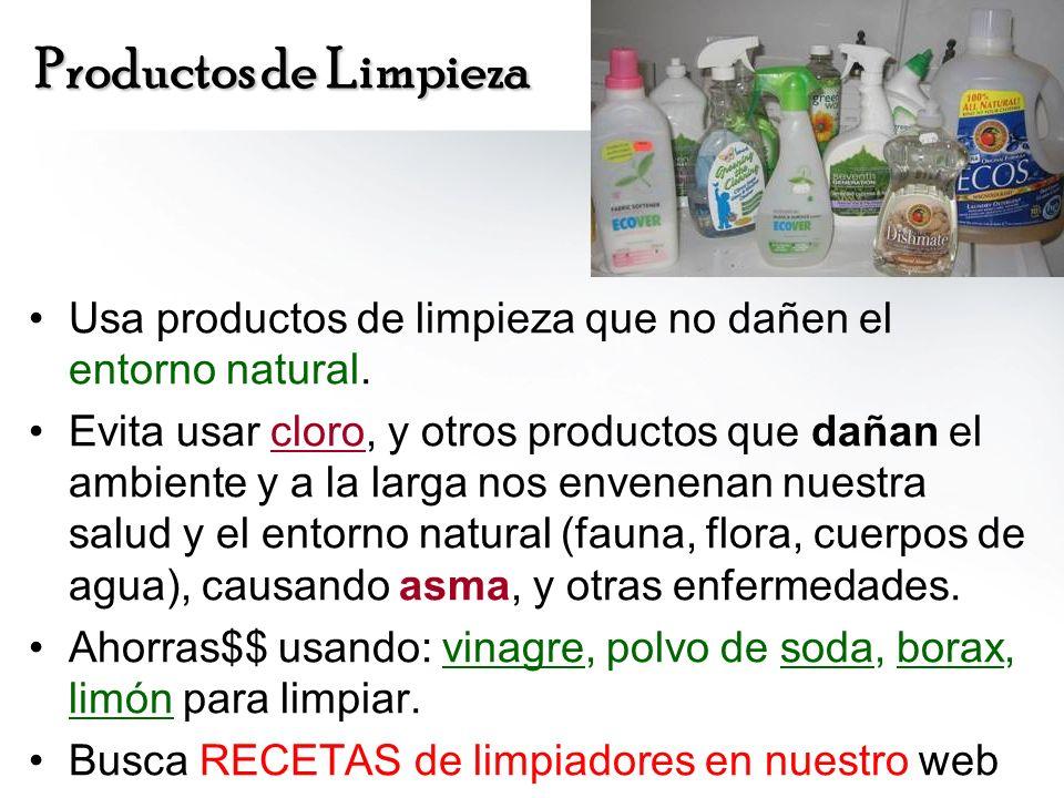 Productos de Limpieza Usa productos de limpieza que no dañen el entorno natural.