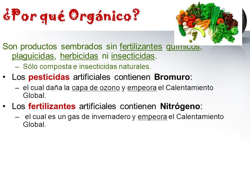 ¿Por qué Orgánico Son productos sembrados sin fertilizantes químicos, plaguicidas, herbicidas ni insecticidas.