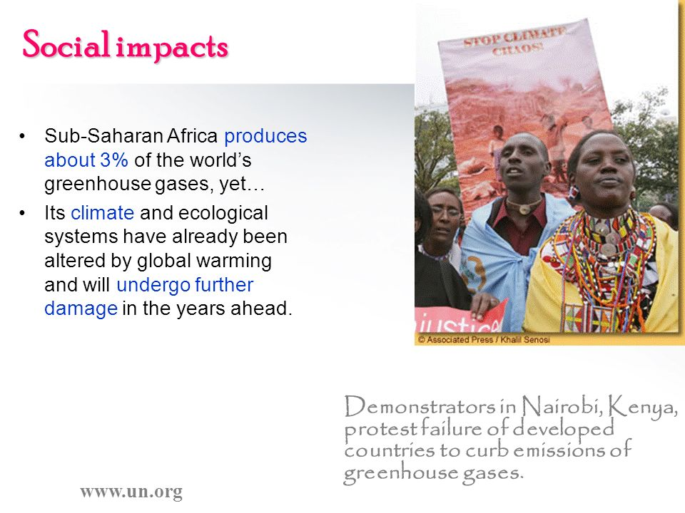 Social impacts Sub-Saharan Africa produces about 3% of the world's greenhouse gases, yet…