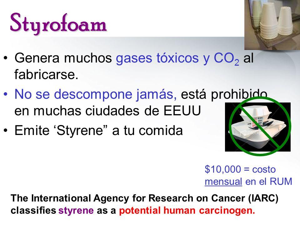 Styrofoam Genera muchos gases tóxicos y CO2 al fabricarse.