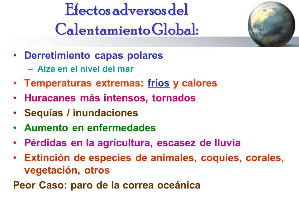 Efectos adversos del Calentamiento Global: