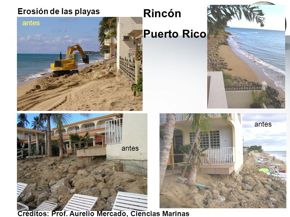 Rincón Puerto Rico Erosión de las playas antes antes antes