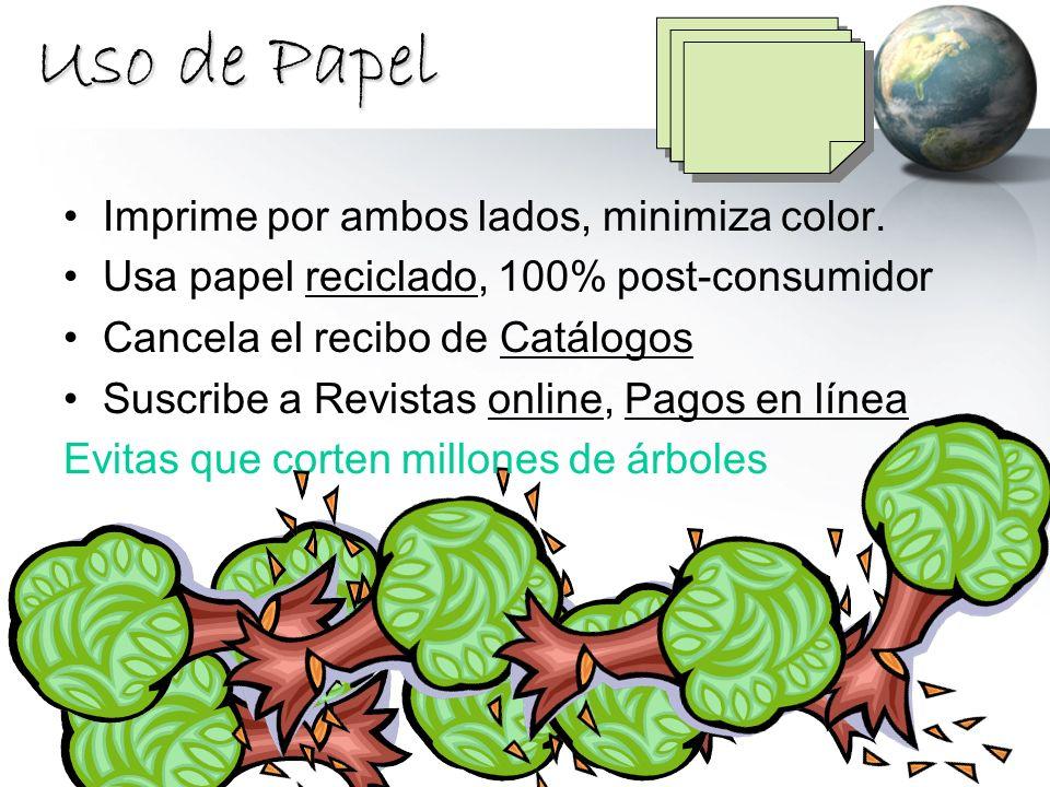 Uso de Papel Imprime por ambos lados, minimiza color.