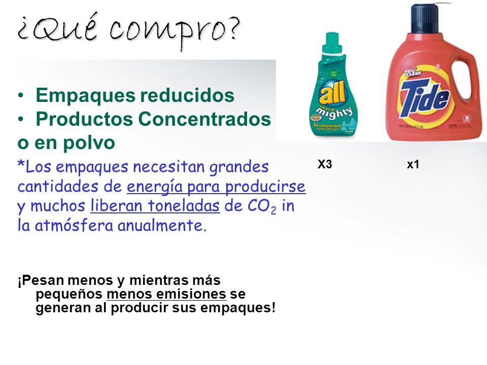 ¿Qué compro Empaques reducidos Productos Concentrados o en polvo