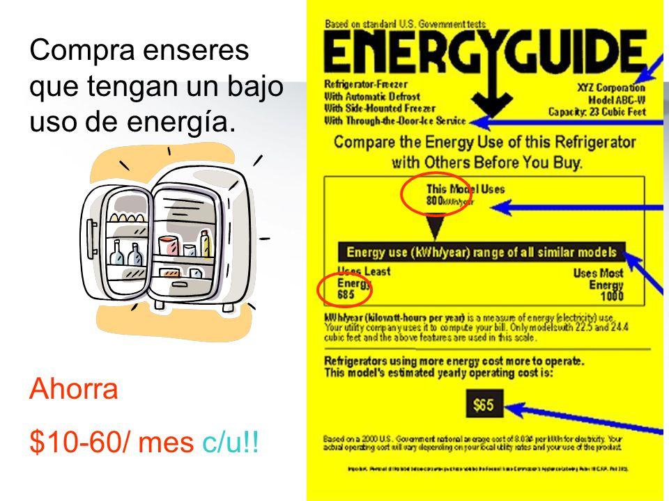 Compra enseres que tengan un bajo uso de energía.