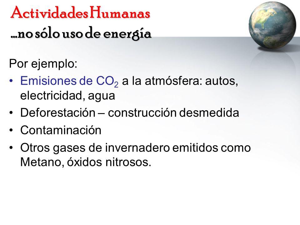 Actividades Humanas …no sólo uso de energía
