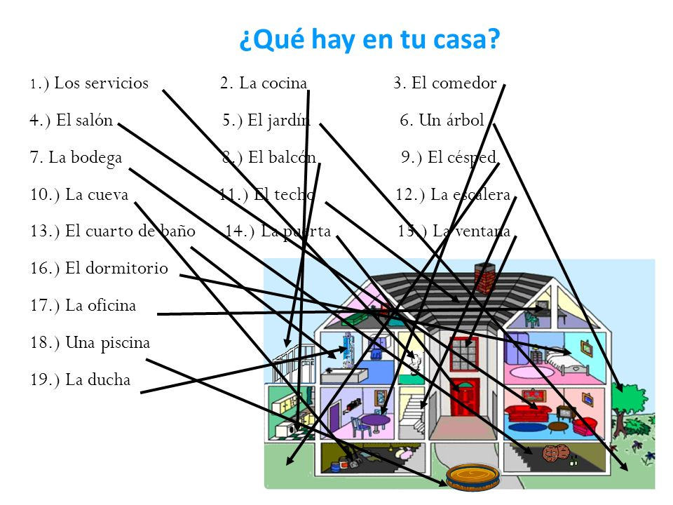 ¿Qué hay en tu casa 4.) El salón 5.) El jardín 6. Un árbol