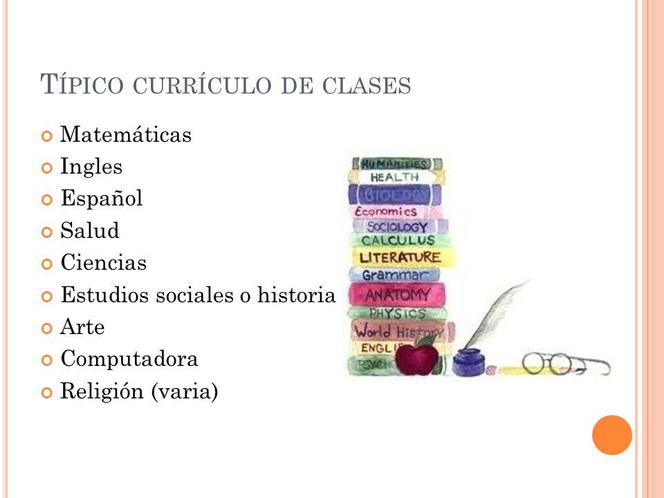Típico currículo de clases