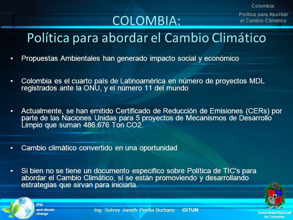 COLOMBIA: Política para abordar el Cambio Climático