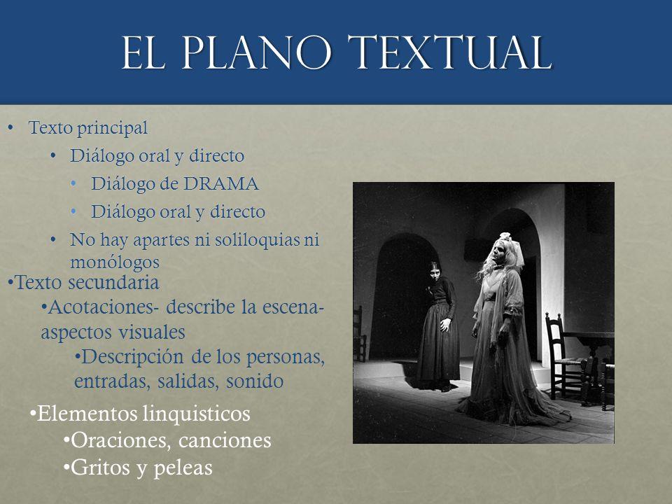 El plano textual Elementos linquisticos Oraciones, canciones