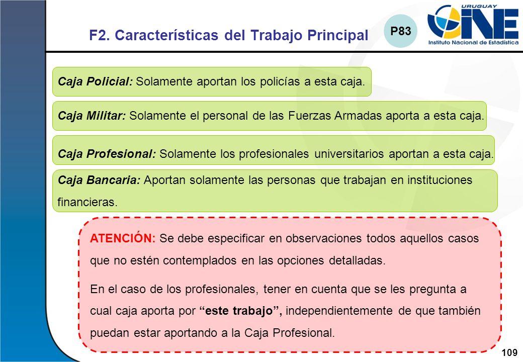 F2. Características del Trabajo Principal