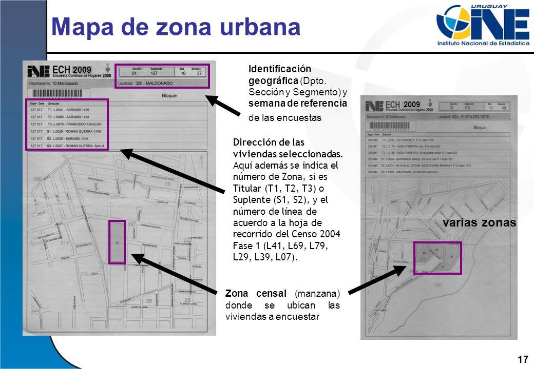 Mapa de zona urbana varias zonas