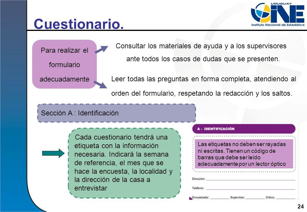 Cuestionario. Consultar los materiales de ayuda y a los supervisores ante todos los casos de dudas que se presenten.