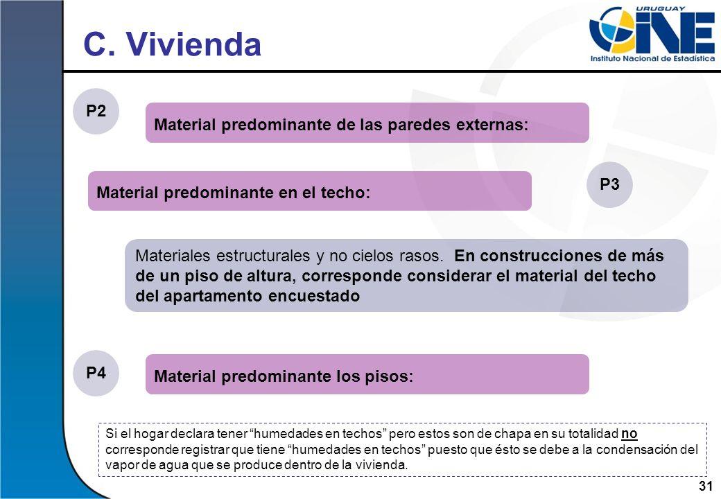 C. Vivienda P2 Material predominante de las paredes externas: P3