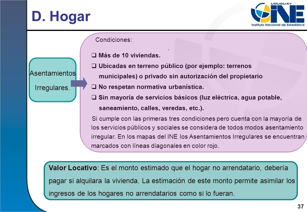 D. Hogar Condiciones: . Asentamientos Irregulares.