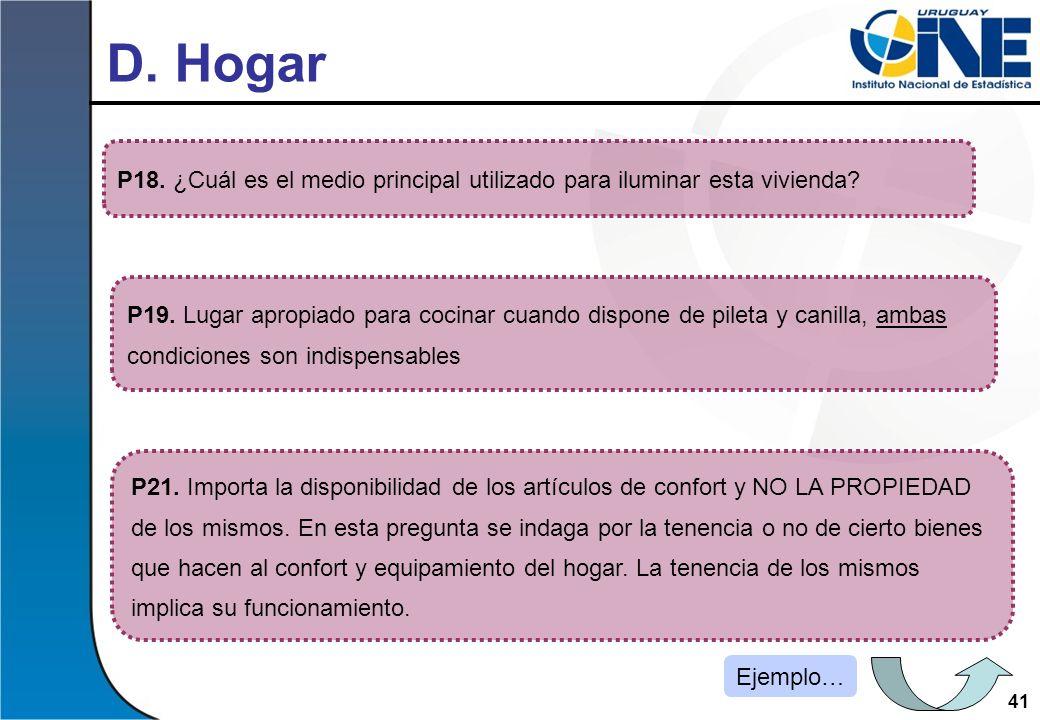 D. Hogar P18. ¿Cuál es el medio principal utilizado para iluminar esta vivienda