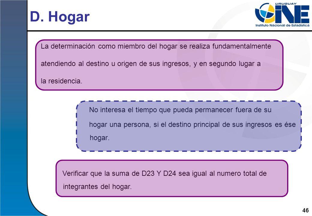 D. Hogar La determinación como miembro del hogar se realiza fundamentalmente. atendiendo al destino u origen de sus ingresos, y en segundo lugar a.