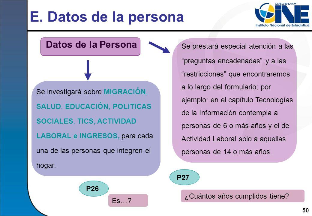 E. Datos de la persona Datos de la Persona