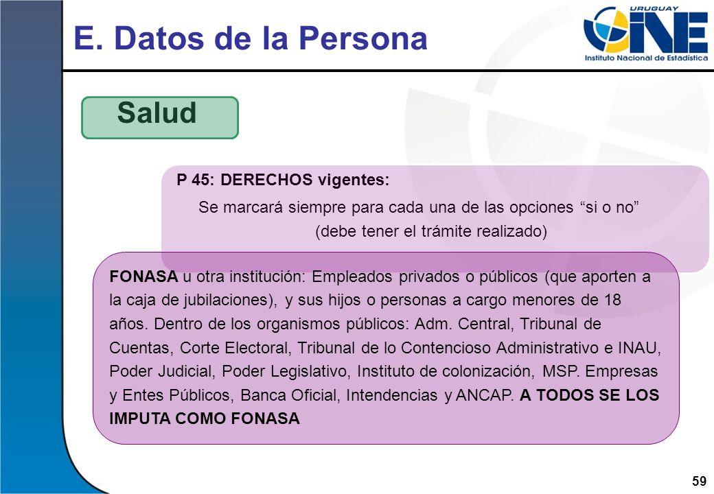 E. Datos de la Persona Salud P 45: DERECHOS vigentes: