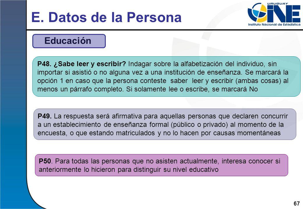 E. Datos de la Persona Educación