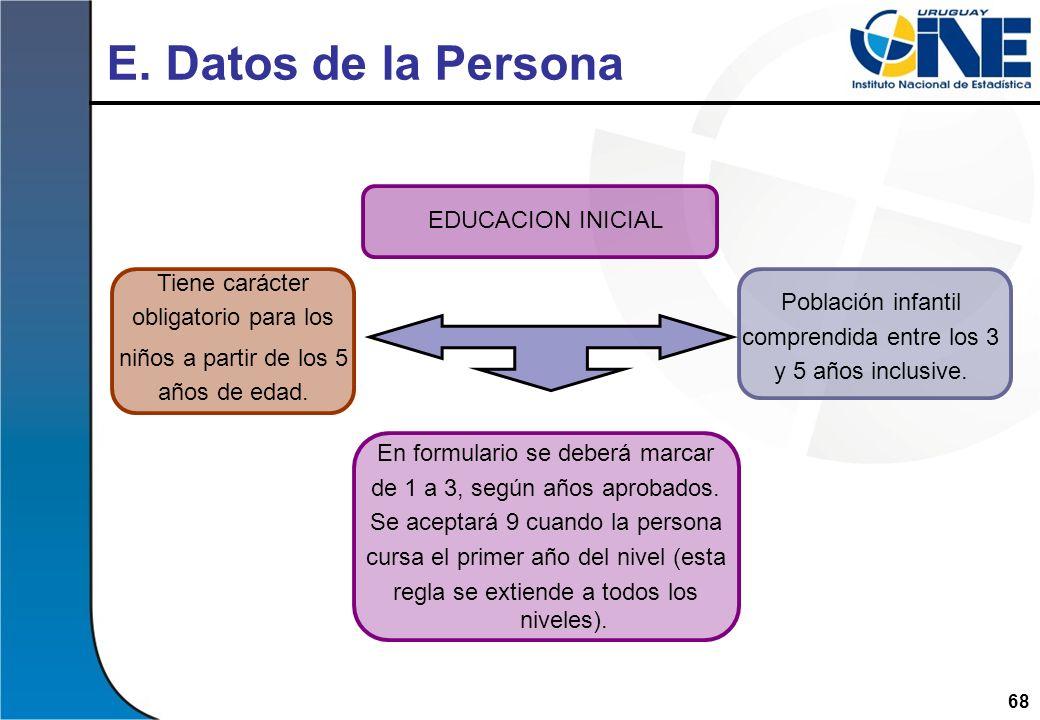 E. Datos de la Persona EDUCACION INICIAL