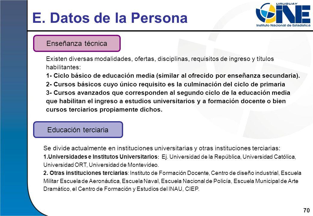 E. Datos de la Persona Enseñanza técnica Educación terciaria