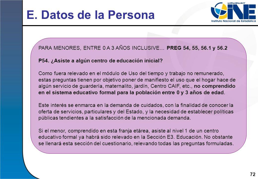 E. Datos de la Persona PARA MENORES, ENTRE 0 A 3 AÑOS INCLUSIVE… PREG 54, 55, 56.1 y 56.2. P54. ¿Asiste a algún centro de educación inicial