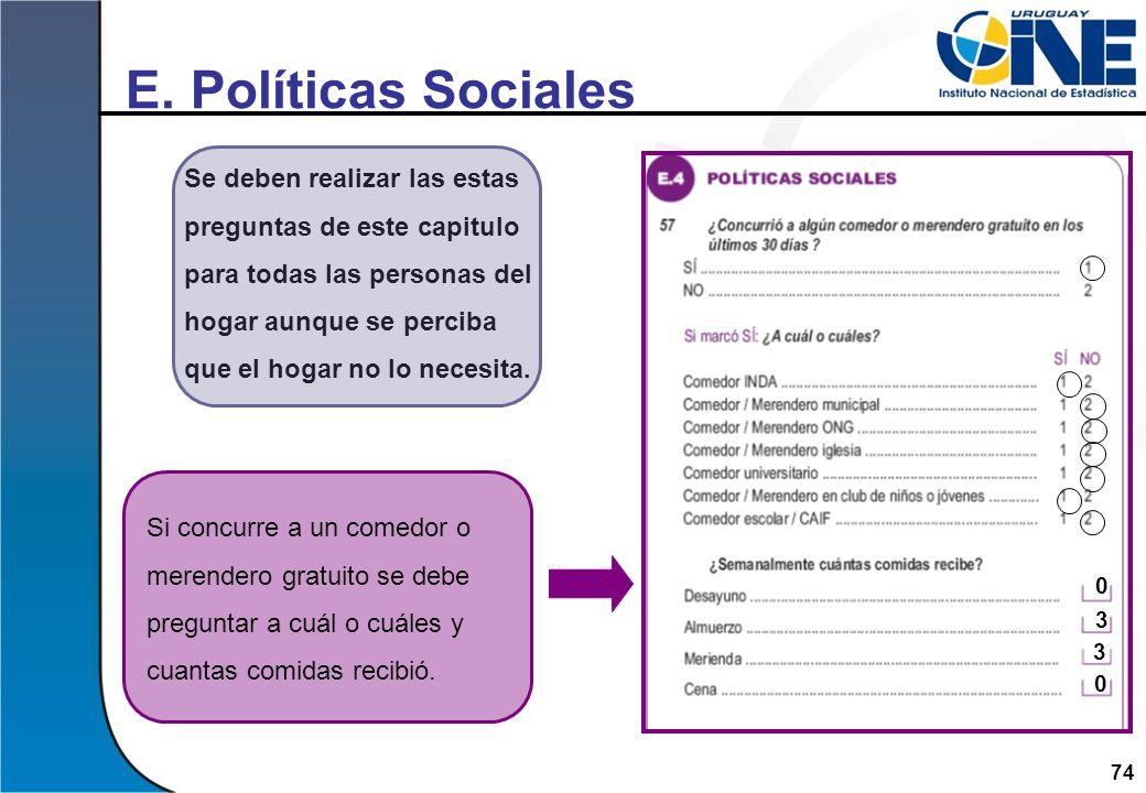 E. Políticas Sociales