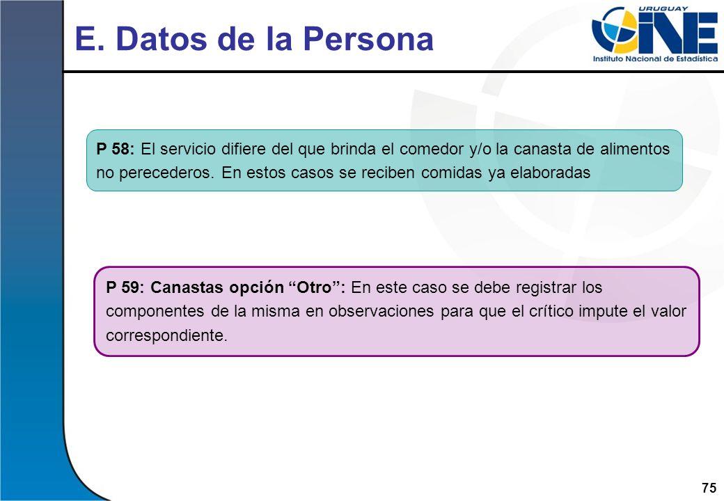 E. Datos de la Persona