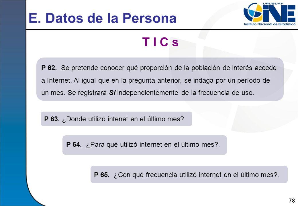 E. Datos de la Persona T I C s