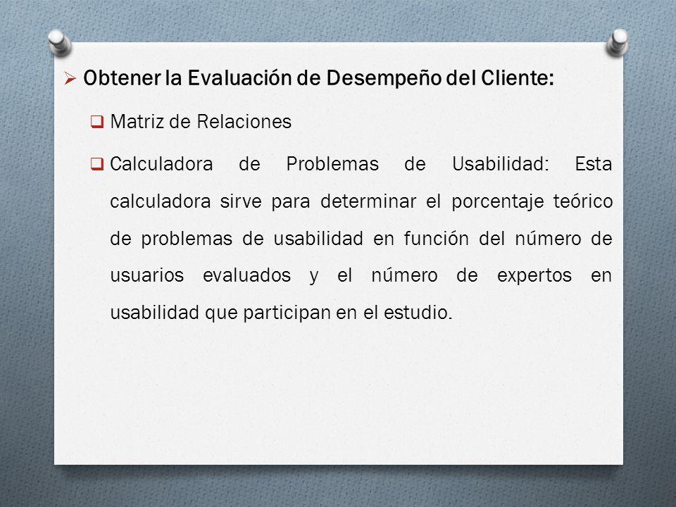Obtener la Evaluación de Desempeño del Cliente: